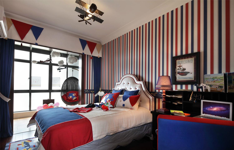 美式家居多空间利用四室一厅装修效果图
